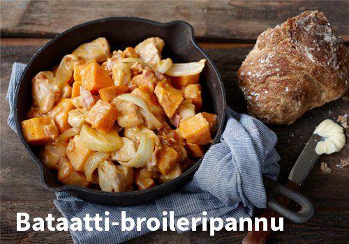 Bataatti-broileripannu, Resepti: Valio #kauppahalli24 #ruoka #reseptit #broileri
