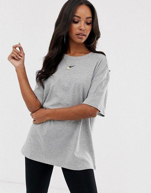 4db0611c9e8c Nike Grey Mini Swoosh Boyfriend T-Shirt in 2019 | Style 2019 | Nike ...