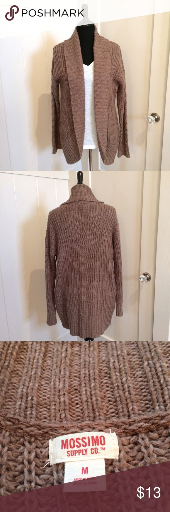 "Mossimo Boyfriend Cardigan Medium NWOT New & never worn boyfriend Cardigan size Medium in pretty mocha chocolate color. Approx 21"" Chest 55% Cotton & 45% acrylic Beautiful new condition. Smoke free home. 🎀 Mossimo Supply Co Sweaters Cardigans"