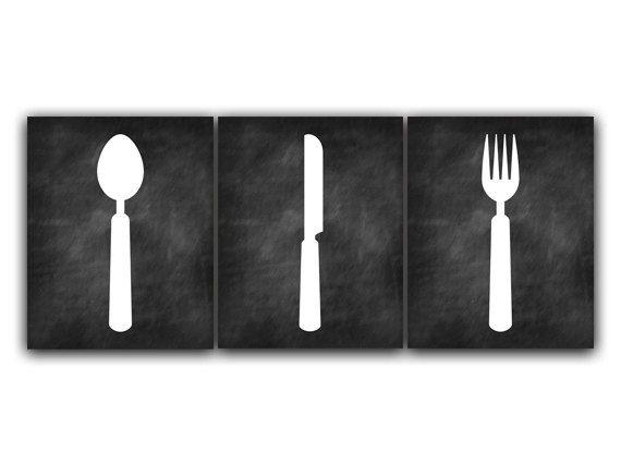 Home Decor Wall Art, Chalkboard Kitchen Art, Fork And Spoon Wall Decor,  Kitchen