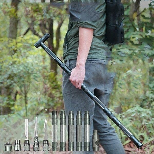 Camping Outdoor Hiking Stick Climbing Defense Tactical Cane Multi Tool Trekking