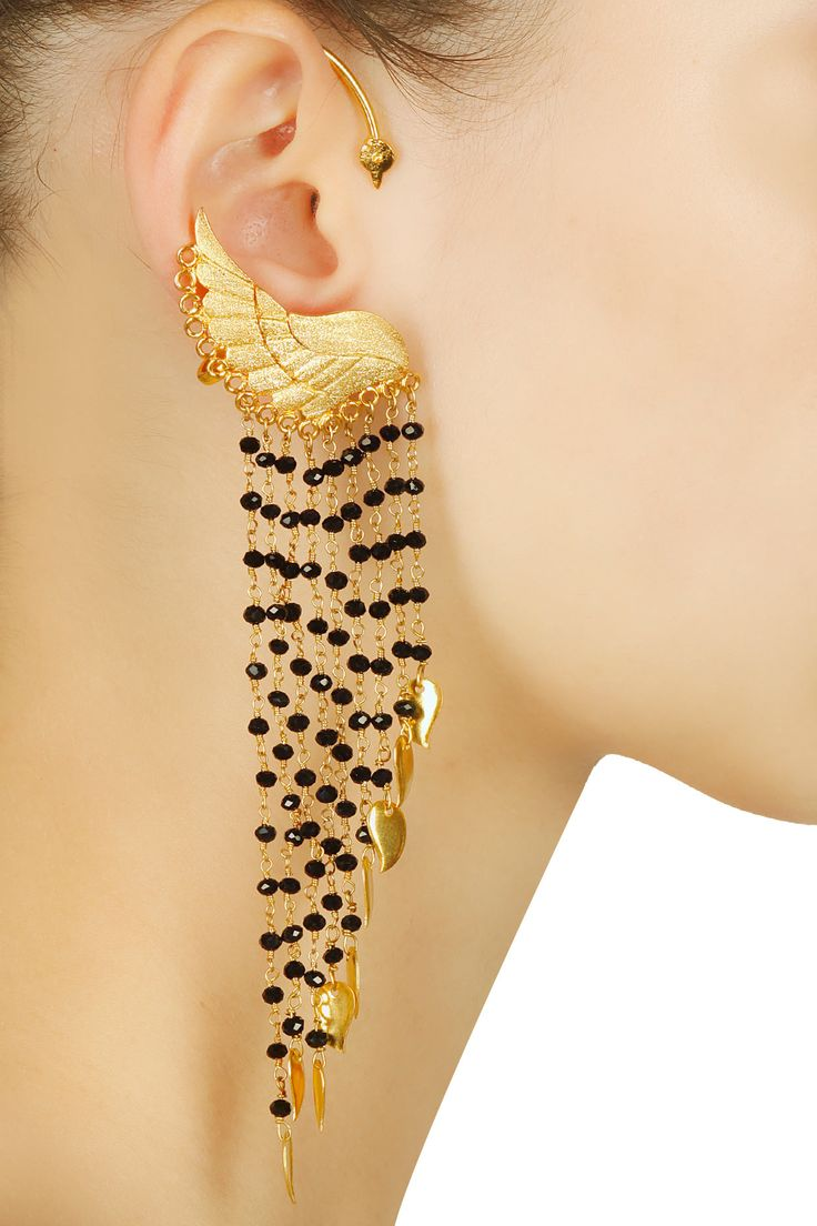 Gold plated tribal spike earrings available only at Pernias Pop Up Shop.