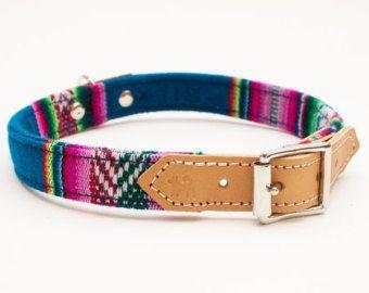 Green Geo Dog Collar Leather dog collars handmade by HiroandWolf
