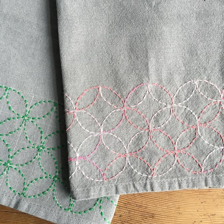 "251 Likes, 5 Comments - Karyn Valino (@make_something) on Instagram: ""Lovely work from today's Sashiko class. Every colour of thread looks so good on a grey tea towel. .…"""
