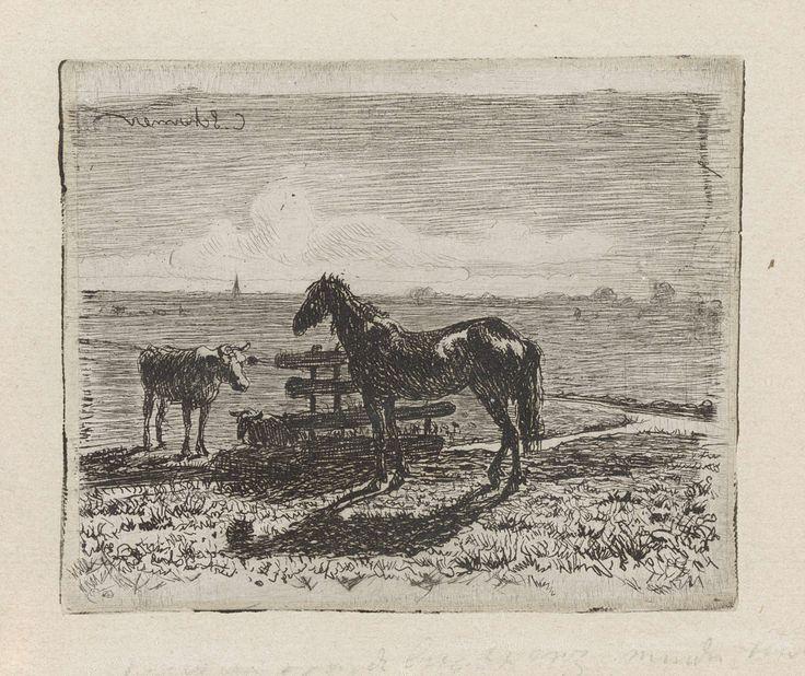 Cornelis Albertus Johannes Schermer | Weiland met een paard en twee koeien, Cornelis Albertus Johannes Schermer, 1839 - 1915 | Bij een hek in een weiland staan een paard en een koe. Achter het hek ligt een tweede koe.