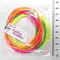 3 x Pack of 12 Neon Gummie Bracelets / Bright Bangles / Gummy Bands - great party bag fillers and 80s fancy dress accessories