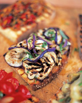 aubergine and mint brushetta - jamie