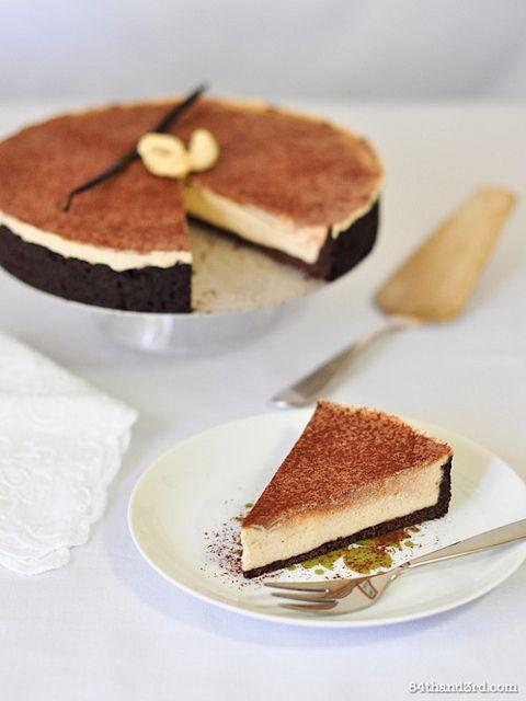 Raw vanilla and chocolate cashew cheesecake with quinoa chocolate pie crust