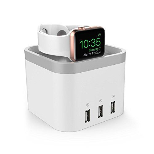 awesome NEXGADGET Base de Carga Apple Watch Inalámbrico 2-en-1 con tres puertos USB adicional  Cargador con Protección para Iwatch, Teléfono Inteligente, Tableta y Otros dispositivos