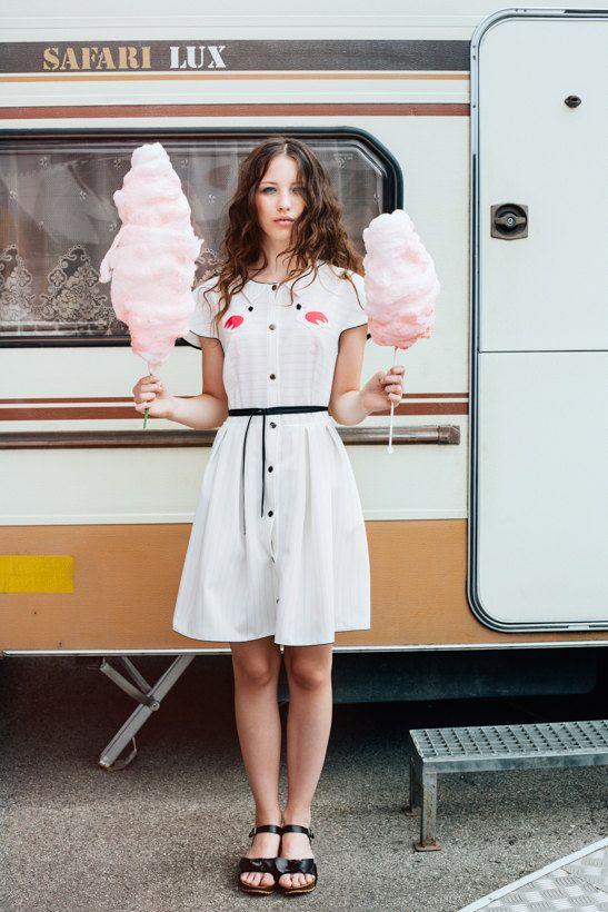 flamingo dress, summer dress, shirt dress, retro dress. white dress, flamingo, appliqued dress. unique dress, short sleeved dress