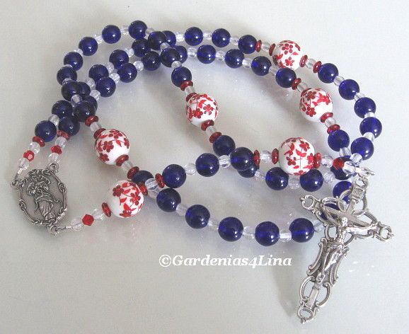 Mary, Untier of Knots ~ Limited Edition Rosary ~ blue glass, crystal red & white porcelain, Untier of Knots center, open crucifix ~