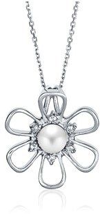 Bling Jewelry Freshwater Cultured Pearl Open Daisy Flower Pendant Rhodium Plated Necklace 16 Inches.