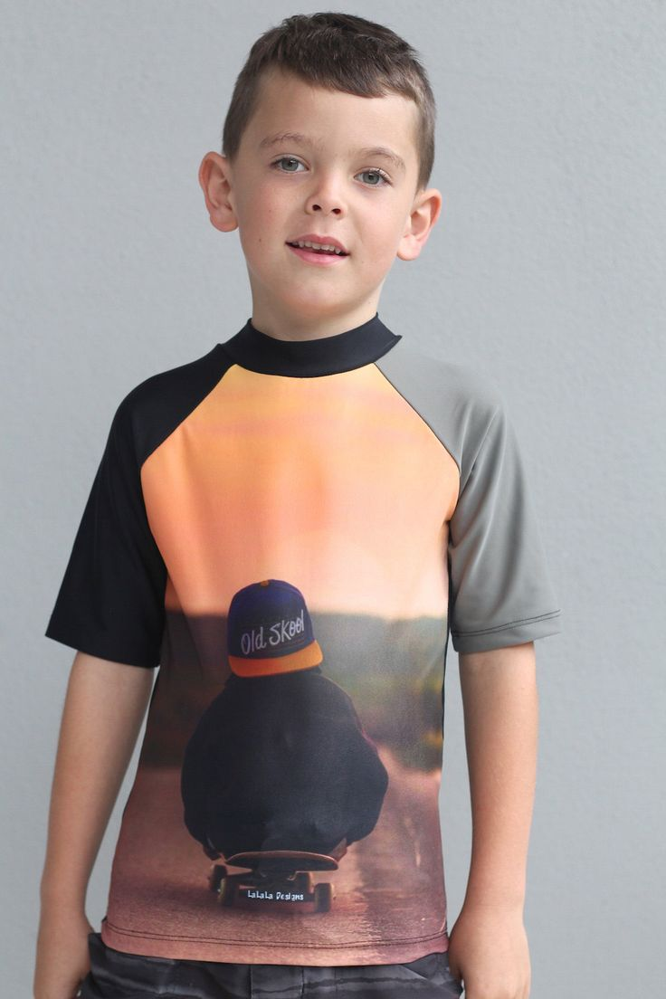 Boys swimsuit short sleeve Rash Vest with sublimated with skate design. by LaLaLaDesigns on Etsy