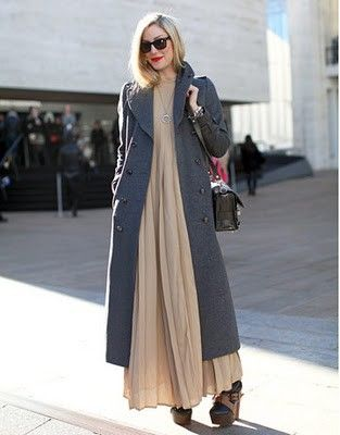 Love the long dress with long coat.