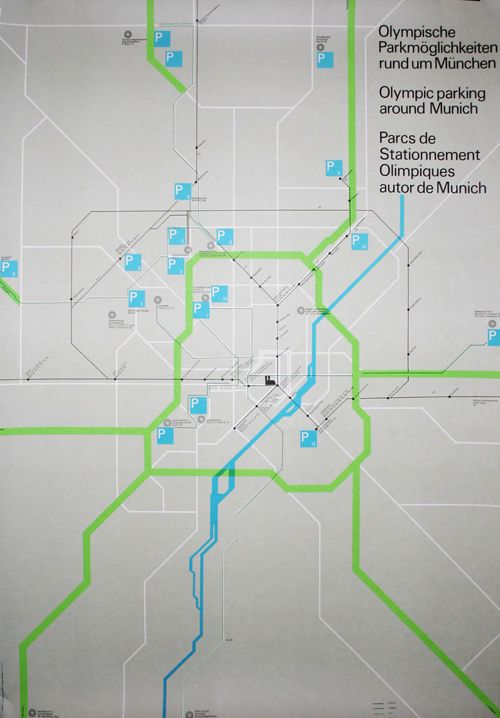 Olympic Games Munich / Parking Map / Poster / 1972