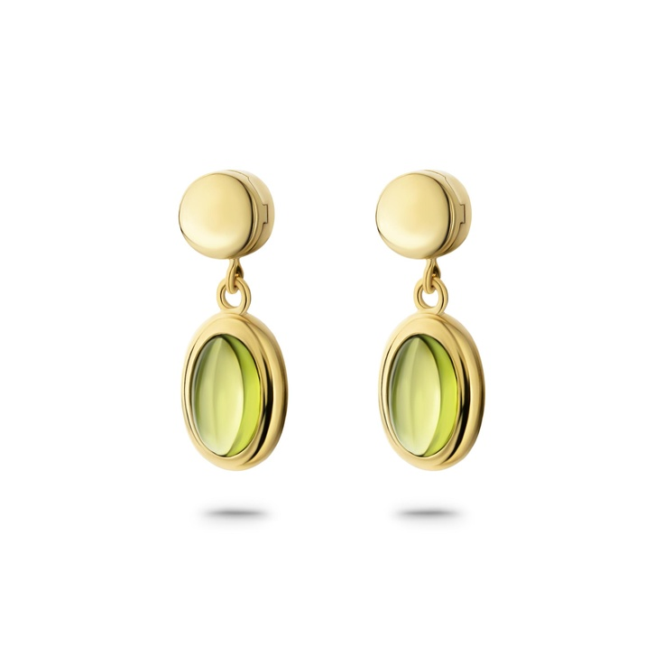 Silver Gold plated ear studs with Peridot charm.