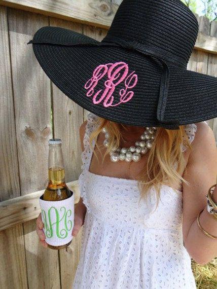 Monogrammed Floppy Hat  Beach Hat  Derby Hat  by MonogramBelle