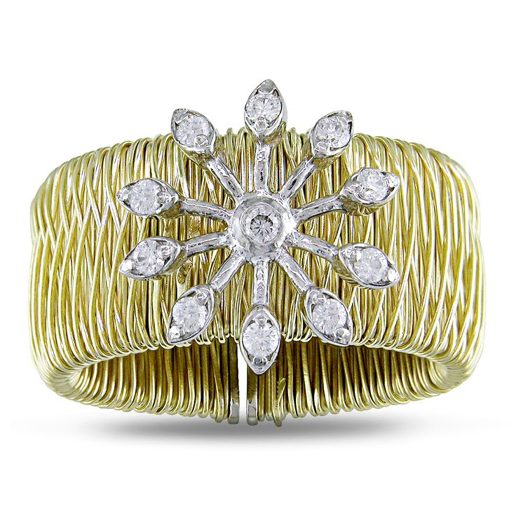 Miadora Signature Collection 18k Gold 1/5ct TDW Diamond Snowflake Ring
