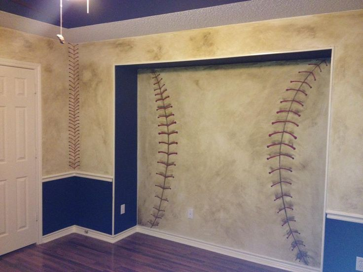Collins Inset wall painted like a baseball
