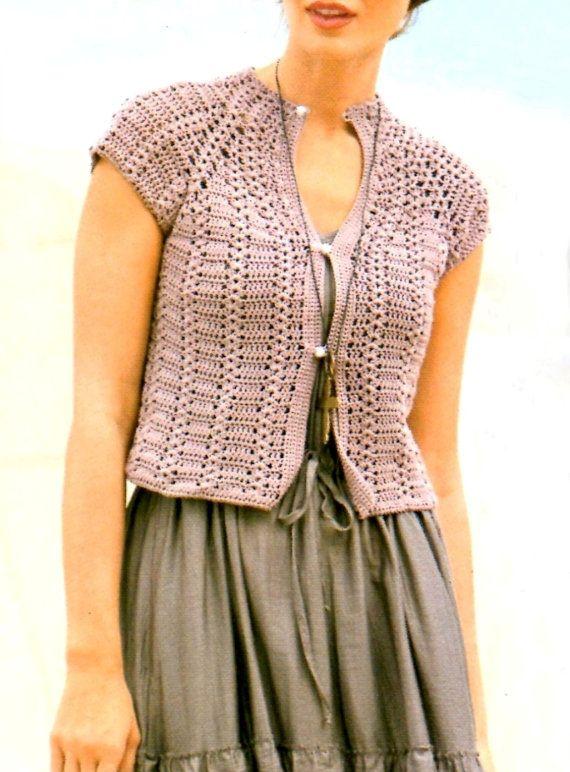 Crochet jacket, feminine jacket, short sleeves, PATTERN ...