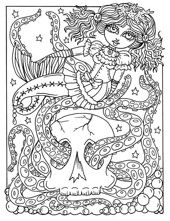 5 Pages Gothic Mermaids Digital Coloring Pages Set Of 5 Digi Etsy Mermaid Coloring Pages Love Coloring Pages Barbie Coloring Pages