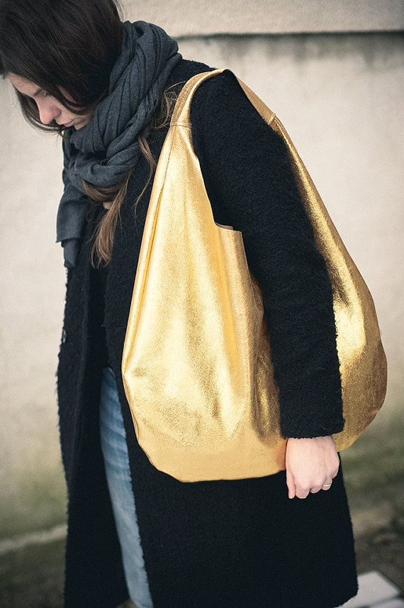Gold Leather Hobo Bag, every day bag, tote bag via Etsy