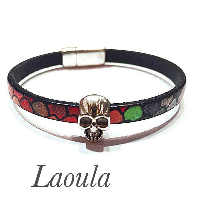 Bracelet cuir adolescent artisanal tête de mort 259213