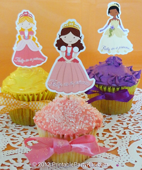 Free printable princess cupcake picks- these would b cute to print for school lunch boxes as well. :)