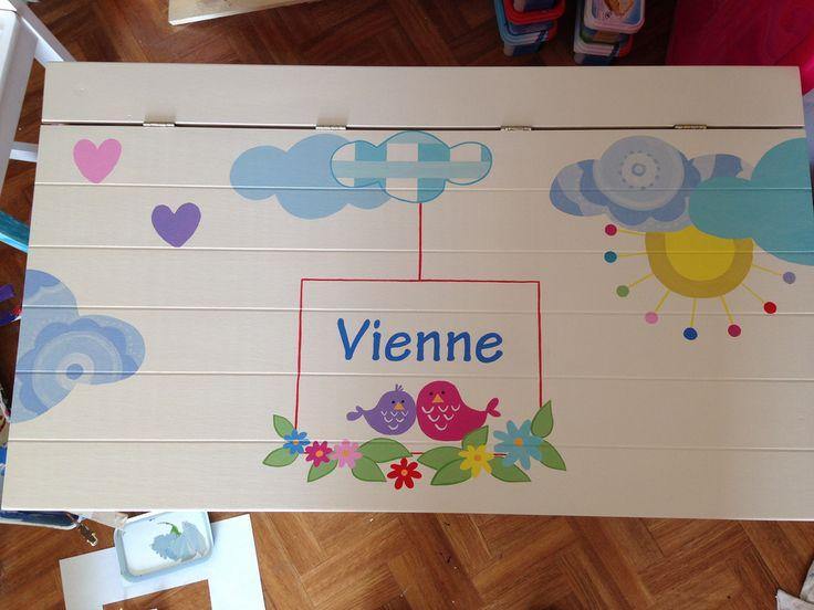Vienne kreeg van haar ouders deze mooie speelgoedkist voor haar eerste verjaardag! De afbeeldingen komen van haar leuke geboortekaart met boerderijdieren. De kleuren zijn aangepast zodat de kist helemaal past in het interieur van de woonkamer.
