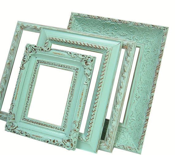 Mint Green Picture Frames Shabby Chic Frame Set Ornate Frames Pastel Home Decor Wedding Nursery