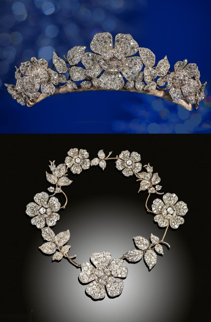 An impressive late Victorian diamond wild rose tiara, naturalistically designed and pave-set with old cushion-cut and pear-shaped diamonds, set either side with a series of 4 further graduated diamond-set roses and 6 graduated diamond-set foliate sprays in silver and gold. 10 of the 11 sections convert to be worn as a substantial necklace, set on yellow gold knife-edge mounts. Each section also converts to be worn separately as a brooch, or a pair of earrings. #Victorian #tiara