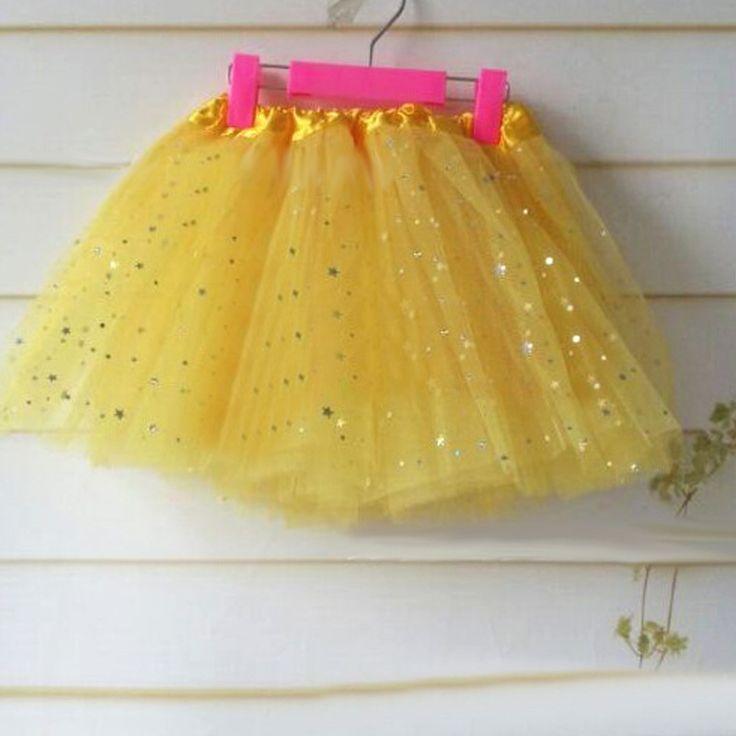 2-8 éveseknek való csillogó sárga tavaszi tütü / tüll szoknya