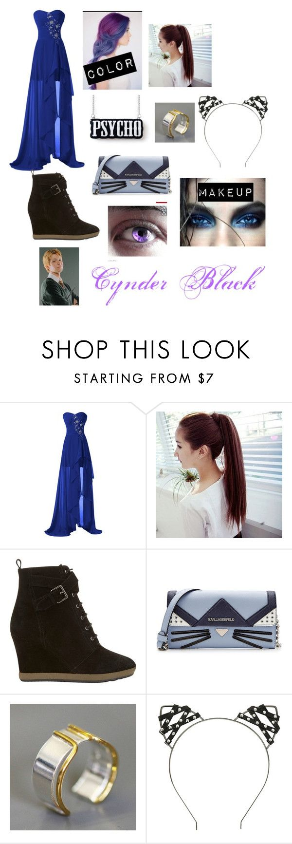 """""""Cynder Black (yule ball)"""" by supimanoddperson ❤ liked on Polyvore featuring Mint Velvet, Karl Lagerfeld and Maya Magal"""