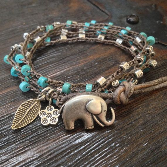 "Elephant Turquoise Leather Multi Wrap 'Boho Chic"" Rustic Silver $40.00"