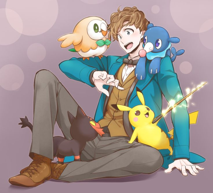 Tags: Pokémon, Harry Potter, Pikachu, Pixiv Id 2296492, Rowlet, Litten, Popplio, Newt Scamander, Fantastic Beasts and Where to Find Them