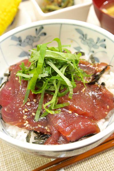 和食】再現版!「自家製漬け丼のたれで☆まぐろの漬け丼」&ゴーヤの ...