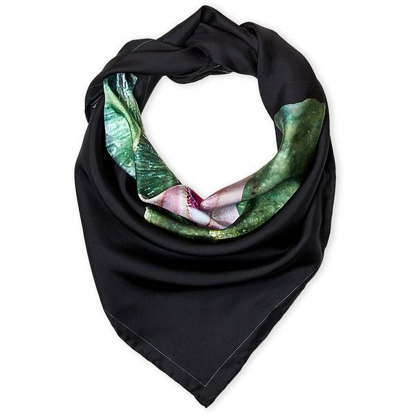 Givenchy Black Printed Scarf (290 BRL) ❤ liked on Polyvore featuring men's fashion, men's accessories, men's scarves, white and mens silk scarves
