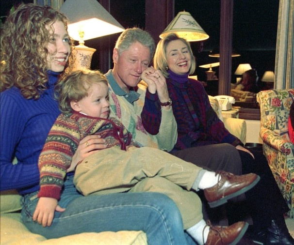 Nov. 27, 1997     President Bill Clinton spends time with Hillary Rodham Clinton, their daughter, Chelsea, and nephew Tyler Clinton on Thanksgiving at Camp David.  Barbara Kinney / AP