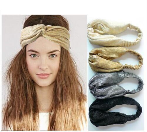 ON SALE 1PCS Glitter Elastic Stretch Twist Headband Turban Headwrap Headwear Women Bandanas Twist Hair Bands Turbante