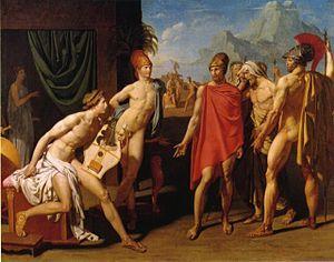 Gli inviati di Agamennone - L'uomo col mantello rosso è Ulisse. Il dipinto è datato 1801 : Ingres aveva 20 anni quando lo esegui.