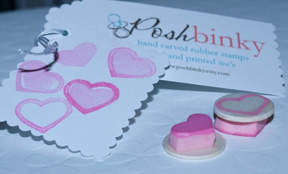 Valentine Mini Heart Stamp Set Solid Heart and by PoshBinky, $5.00