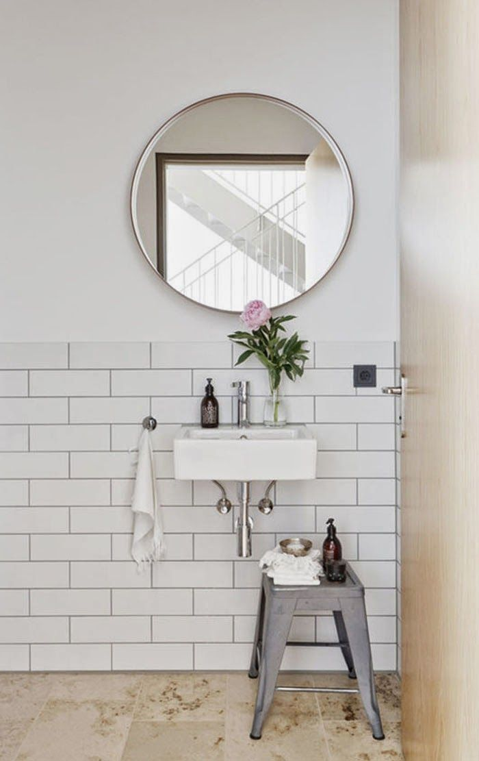 bathroom stool round mirror