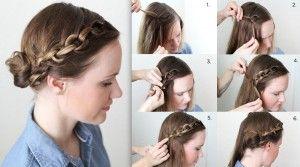 Peinado trenza de cadena o nudos con chongo en la parte superior paso a paso