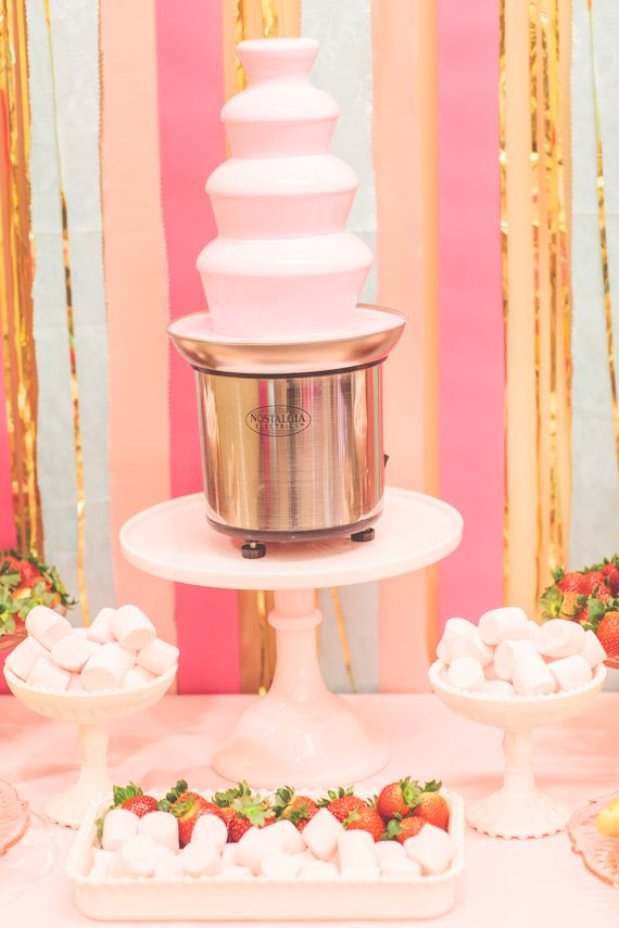 Chocolate Fountain Table by Minted and Vintage