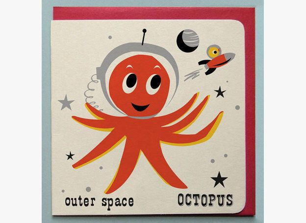 Outer space Octopus Card by ketchuponeverything on Etsy https://www.etsy.com/listing/152106431/outer-space-octopus-card