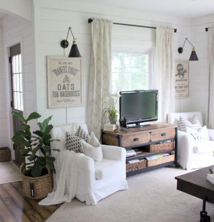 8 best Tv in front of window images on Pinterest | Dining ... on Farmhouse Living Room Curtains  id=30423