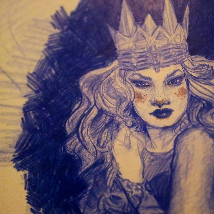 #freckles #crown #queennotaprincess #curls #bighair #bighairdontcare #yourdemise #sketch #art #eveningdoodle