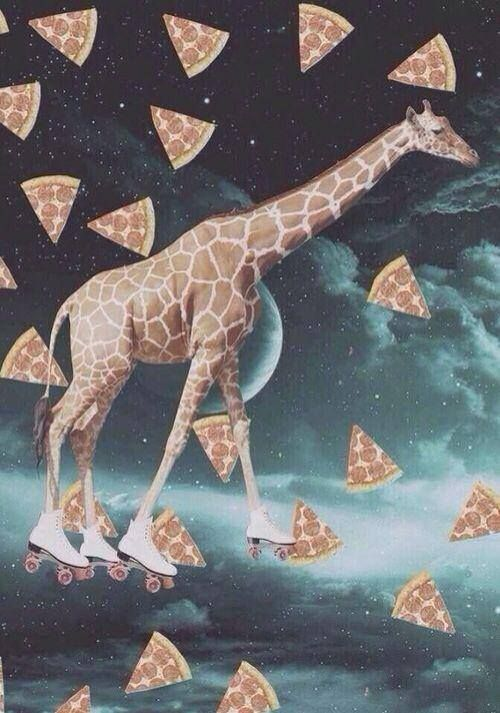 giraffe on roller skates in space trying to catch a slice...hahaha