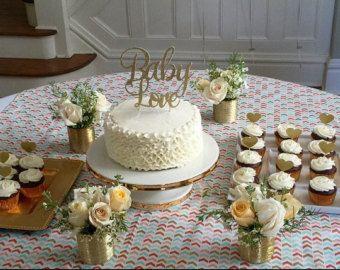 Baby Love Gold Glitter cake topper - Baby Shower - Birthday - wedding