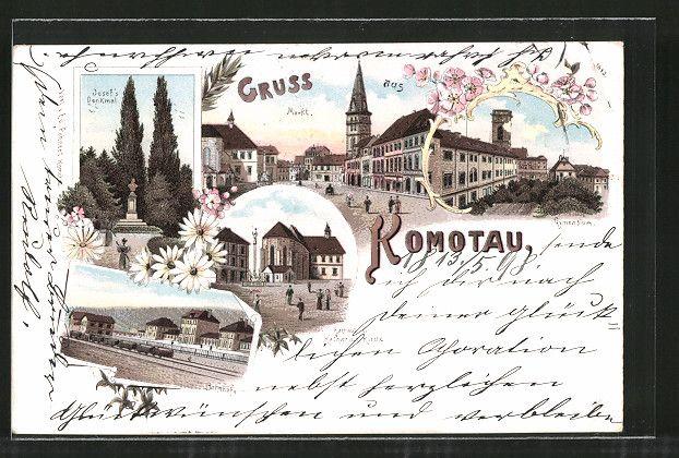 old postcard: Lithographie Komotau / Chomutov, Bahnhof, Markt, Gymnasium, Rathaus und Katharina Kirche